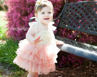 Ivory and Coral Tutu Dress, Baby Girl Wedding Dress, Toddler Coral Tutu Dress, Ivory Toddler Girl Dress,Girls Party Dress,Girls Easter Dress