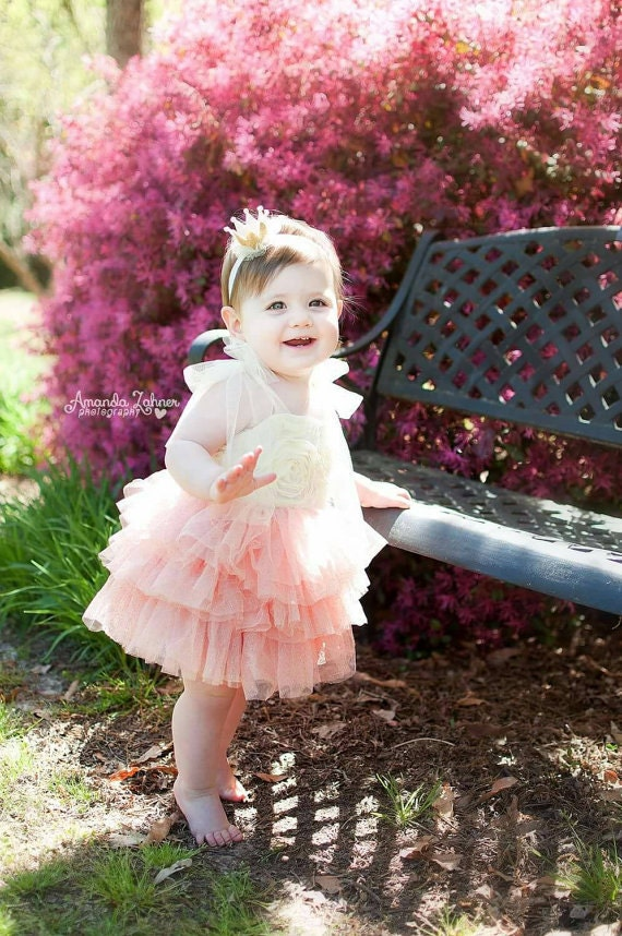 Ivory and Coral Tutu Dress Baby Girl Wedding Dress by