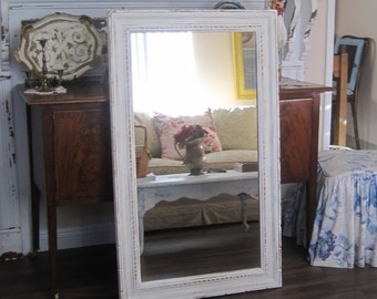Full Length Shabby Chic Carved  Wood Framed Mirror - Rustic Farmhouse - Distressed Cream ReCycled Fine Art Frame