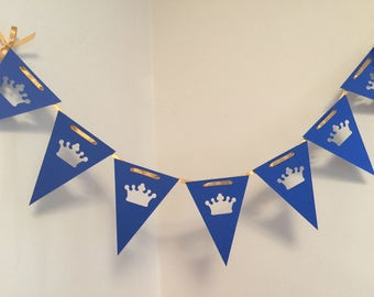 Royal Prince Baby Shower Bunting , Little Prince Banner, Royal Blue and Gold baby shower decor,  Little Prince Birthday Decor- Your colors