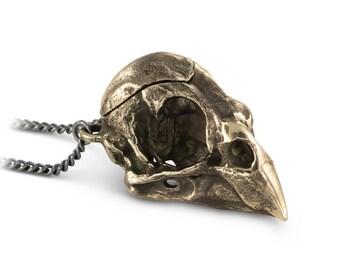 """Bird Skull Locket - Bronze Cardinal Skull Locket on 24"""" Gunmetal Chain"""