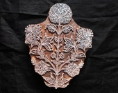Large floral textile pottery stamp/hand carved Indian block printing stamp/wooden block for printing/ tjaps/paper and fabric printing stamp