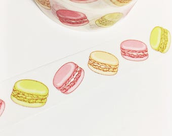 Pretty Bright Pastel Macarons Macaroons Green Orange Peach Pink Dessert Washi Tape 11 yards 10 meters 15mm