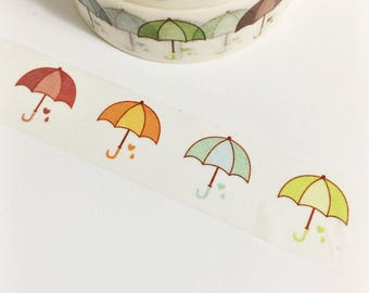 Colorful Spring Hearts Raindrops Umbrella Spring Showers Washi Tape 11 yards 10 meters 15mm