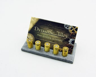 Steampunk 9 mm Ammo Casing Polymer Clay Business Card Holder