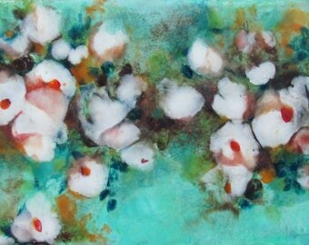 Original Encaustic Abstract Floral Painting - White Flowers Turquoise Sky - Encaustic Art - Beeswax Painting - Small Painting - KLynnsArt