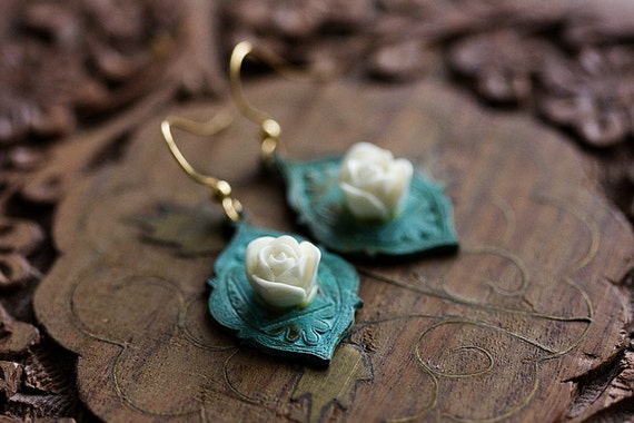 Rose Patina Earrings Verdigris White Flower Earrings Floral Dangle Earrings Green Earrings Bohemian Jewelry Valentine's Day Gift - E327