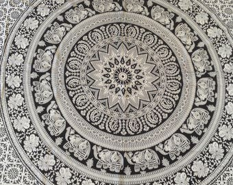 Black and white Mandala single bed cover/throw/wall/India/cotton