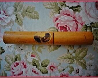 Victorian Needle Case, Mauchline Ware Needle Case, Scottish Antique, Elm Wood Case