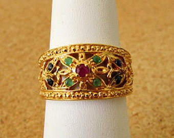 vintage 90s genuine ruby sapphire emerald flower ring size 9  925 silver with gold technibond vermeil hsn