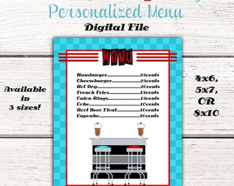 1950's Birthday Party Menu, 50's, Fifties, sock hop, diner, 50's party decoration, RED & TURQUOISE, Digital File