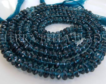15 pc London blue TOPAZ faceted gem stone rondelle beads 6mm