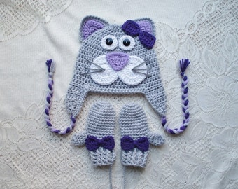 Grey and Purple Kitty Cat Crochet Hat and Mitten Set - Photo Prop - Available in Baby to Toddler Size - Any Color Combination