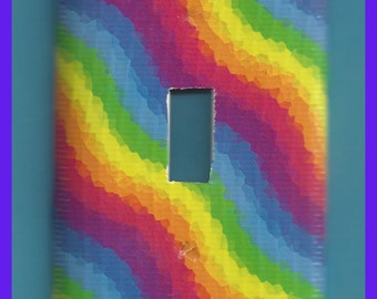 Switch Plate Cover Rainbow Light Single Toggle  Swirls