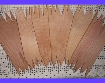 Wood Planks Cut Jagged Rustic Edge, Sign Pieces, Crafts, Rough Style, Set 6, Unfinished