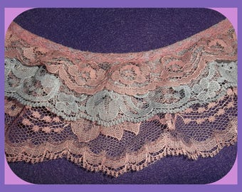 Triple Layer Lace Gathered Dusty Rose Pink & Smoky Baby Blue 2 Yards