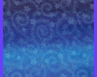 Blue Sky & Stars FABRIC Fairy Dust Spattered Cotton