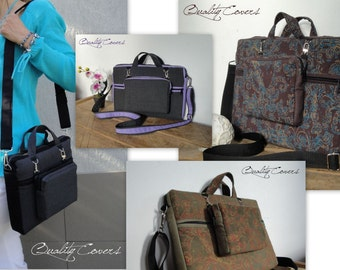 Customizable for Color Fabric and Size Laptop bag and Removable padded WALLET - Water resistant lining - Messenger Strap - exterior pocket