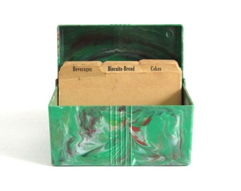 "Green Plastic Recipe Box 3 x 5 Recipe Card File with Dividers, Marbled ""Playtime Toys, Inc"" 1950s Kitchen"