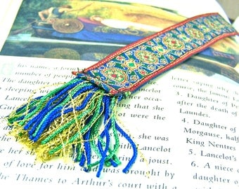 Ribbon Bookmark - Magic Carpet Persian Jacquard Book Mark - Red Blue Green Gold