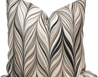 Mary McDonald Firenze Conch Decorative  Pillow Cover - Throw Pillow - Accent Pillow Blush Pink, Greige and Black Chevron