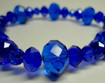 Bracelet, Blue Crystal Bracelet, Stretchy bracelet with Swarovski crystals