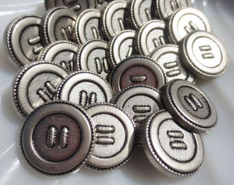 """Buttons Antique Silver Pewter Shank 18mm,11/16"""" -60 pieces"""
