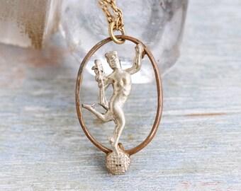 Hermes Necklace - Greek God Pendant on Chain - Mercury