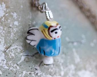 Tiny Angel Necklace - Miniature Porcelain Pendant on a Chain