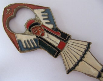 Vintage bottle opener, Greek Turkish dancer, metal opener w/ colorful enamel accents, collectible bottle openers, vintage barware, ref-A