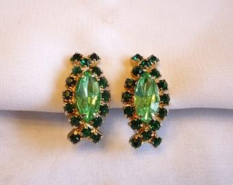 1950s Two Tone Green Rhinestone Earrings