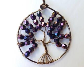 purple Tree of life pendant,  wire beaded tree of life, beaded pendant, handmade jewelry pendant, beaded pendant, beaded jewelry