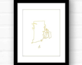 Rhode Island art print | gold foil Rhode Island poster | gold foil nursery art | Rhode Island wall art | gold foil home decor