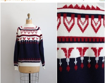 S a L E - 80s Fair Isle Knit Sweater / Chunky Knit Sweater / Jumper / Jc Penney Sweater / Size S/M