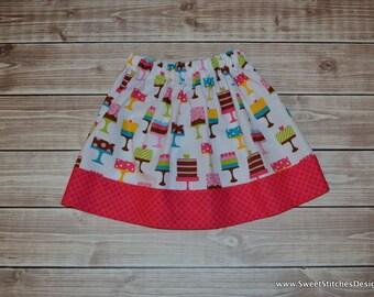 Birthday Cake Skirt Birthday Skirt Girl Birthday Skirt 3T Made and Ready to Ship! Little Girl Party Skirt Twirl Skirt Cake Skirt Party Skirt