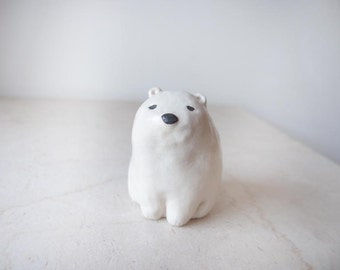 miniture polar bear ceramic sculpture 2