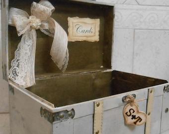Wedding Card Trunk / Wedding Card Box / Rustic Wedding Card Trunk / Large Grey Card Box / Wedding Decorations / Card Box / Vintage Style Box