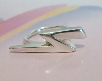 Handmade Lightning Bolt Ring Sterling Silver