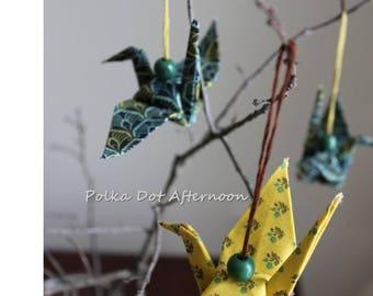 Fabric Origami Crane Ornament - Set of 3