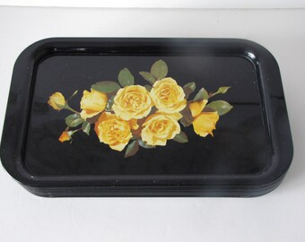 Vintage Black and Yellow Metal TV Tray - yellow Rose - 36 available