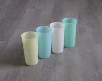 Vintage Pastel Tupperware Cups Tumblers - Set of Four - Small Size