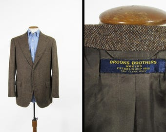 Vintage Brooks Brothers Tweed Jacket 3 Roll 2 Button Brown Wool Sportcoat - Size 41 L
