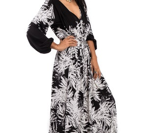 Black and White Jumpsuit, Long Sleeve Jumper Maxi Dress : Chic & Casual Collection