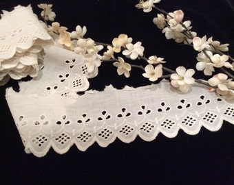 Vintage Eyelet Embroidered Lace, Eyelet Lace, Vintage White Lace, Vintage Cotton Lace, Vintage Sewing Supplies, Vintage Craft Supplies