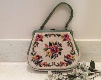 Vintage A Martha Klein Creation Green Leather and Floral Wool Needlepoint Top Handle Purse Handbag Pocketbook
