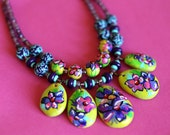 Floral Art Necklace/Colorful Tropical necklace