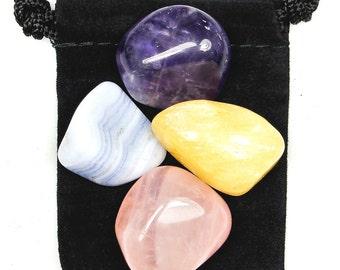 INNER PEACE Tumbled Crystal Set - 4 Gemstones w/Description & Pouch - Amethyst, Blue Lace Agate, Calcite, Rose Quartz