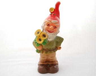 "Vintage 1950's Elf Figure - Hard Vinyl - Garden Gnome - Pixie - Elf - Sunflower Bouquet - 6 1/2"" Height"