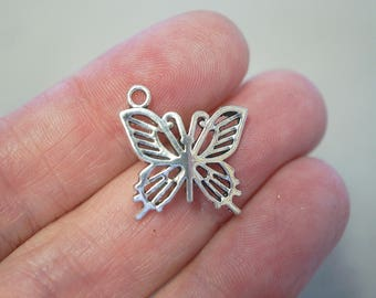 10 Metal Antique Silver Butterfly Charms - 20mm