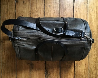 Leather Duffel Bag - Dark Warm Grey and Black Repurposed Leather